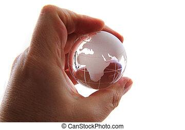 vidro, globo terra, em, mão humana
