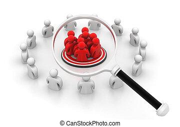 vidro, group., magnificar, foco, pessoas