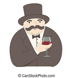vidro, homem, ricos, vinho