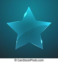vidro, icon., vetorial, estrela, eps10