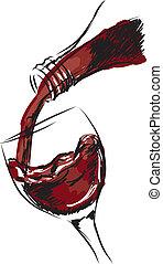 vidro, ilustração, vinho