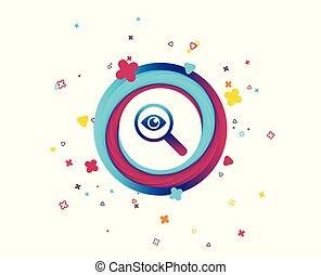vidro, investigue, eye., icon., magnificar