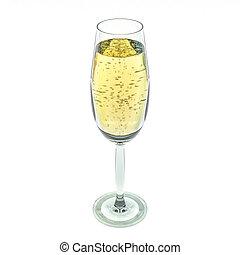 vidro, isolado, experiência., branca, champanhe, 3d