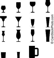 vidro, jogo, silueta, ícones
