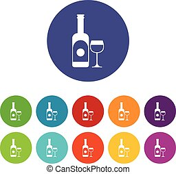 vidro, jogo, vinho, ícones