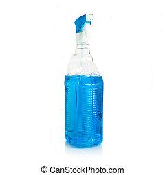 vidro, limpador, com, líquido azul, dentro, sobre, fundo branco