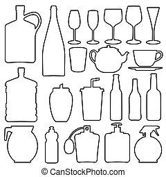 vidro, linha, garrafa, cobrança, copo