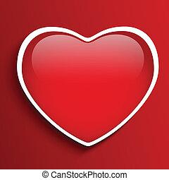 vidro, lustroso, coração vermelho