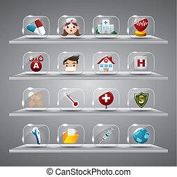 vidro, médico, hearth, botão, caricatura