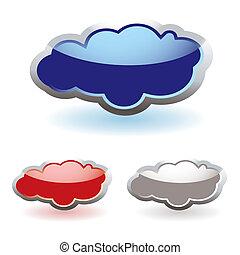 vidro, macio, nuvens