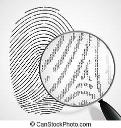 vidro, magnificar, impressão digital