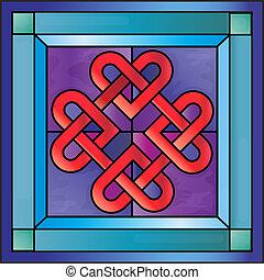 vidro manchado, celta, corações