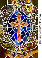 vidro, manchado, crucifixos