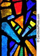 vidro manchado, em, a, igreja proclamação