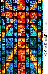 vidro manchado, igreja, janela