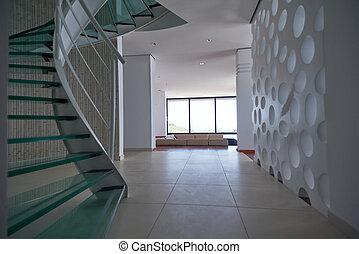 vidro, modernos, caixa espiralada escada