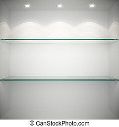 vidro, mostruário, vazio, prateleiras