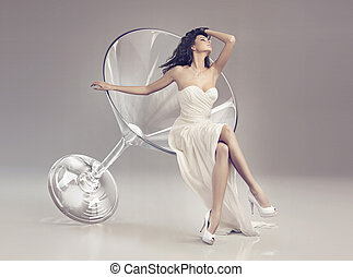vidro, mulher, fabuloso, martini