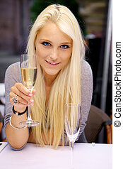vidro, mulher, jovem, levantamento, champanhe