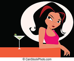 vidro, mulher, martini