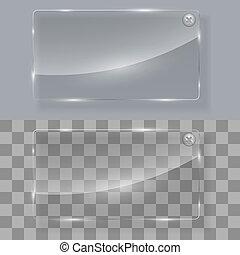 vidro, notificação, prato, com, fim, botão