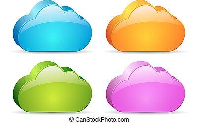 vidro, nuvens, 3d
