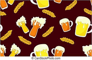 vidro, padrão, seamless, amarela, escuro, experiência., cerveja, pinta