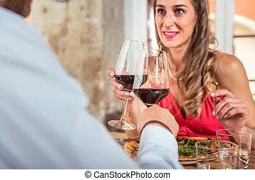 vidro, par, brindar, vinho