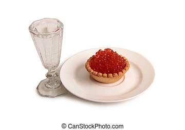 vidro, peixe, seis, caviar