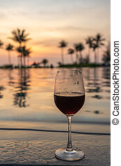 vidro, piscina, fundo, vinho, vermelho, natação
