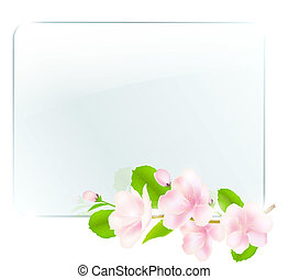 vidro, quadro, com, maçã, flores