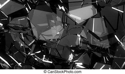 vidro, quebrado, e, quebrada, em, lento, motion., alfa, matte., 3d, render., animação 3d