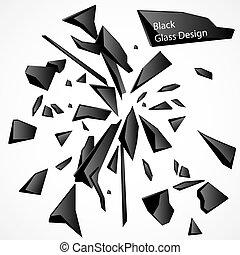 vidro quebrado, pretas, vetorial, desenho