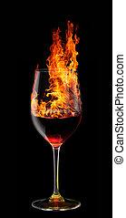 vidro, queimadura, vinho tinto