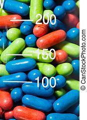 vidro, recipiente, pílulas, droga