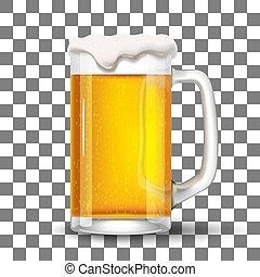 vidro, respingue, cerveja, modelo