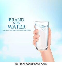 vidro, segura, water., mão