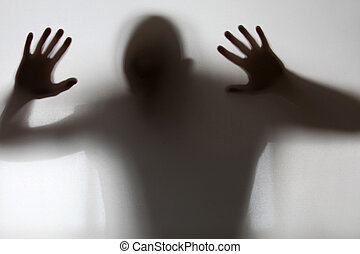 vidro, shadowy, atrás de, figura, apanhado