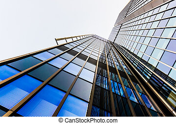 vidro, silhuetas, arranha-céus, escritório, edifícios