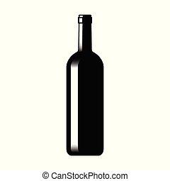 vidro, silueta, garrafa, vinho
