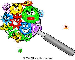 vidro, sob, magnificar, bactérias