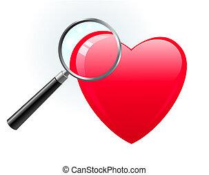 vidro, sob, magnificar, coração