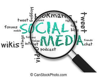vidro, social, -, magnificar, mídia