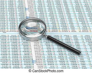 vidro, spreadsheet, magnificar