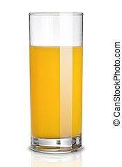 vidro suco laranja, isolado, branco