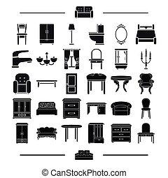 vidro, tecidos, encanamento, e, outro, teia, ícone, em, pretas, style.design, modelo, mobília, ícones, em, jogo, collection.