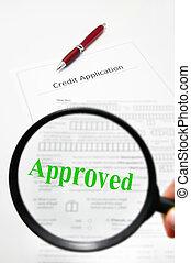vidro, texto, crédito, aprovado, aplicação, magnificar
