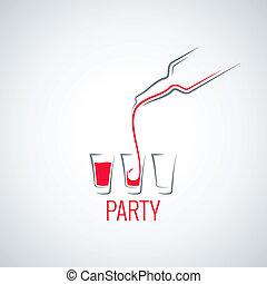 vidro, tiro, coquetel, garrafa, fundo