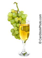 vidro, uva branca, fundo, vinho