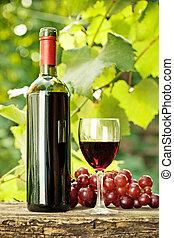 vidro, uvas, garrafa vinho, vermelho, grupo